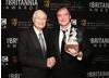 Producer Roger Corman with Quentin Tarantino who was honored with the Britannia Award for Excellence in Directing.