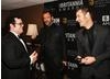 Southpark creators Trey Parker and Matt Stone keep the jokes coming backstage at the Britannias with Josh Gad.