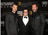 Matt Stone, Josh Gad and Trey Parker. The South Park creators received the Charlie Chaplin Britannia Award for Excellence in Comedy, presented by Gad.