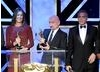 Honourees Kathryn Bigelow, Ben Kingsey and George Clooney on the Britannia Awards stage