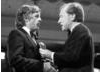 Michael Apted collects the Flaherty Documentary Award for 28 Up from David Frost in 1985