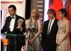 Harry Potter producer David Heyman and creator JK Rowling with stars Emma Watson and Rupert Grint.