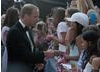 Fans who crowded outside the Belasco Theatre in LA were rewarded with a hand shake from the the Royal couple