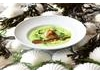Spring pea and smoked 'Dingley Dell' ham soup