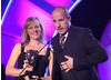 Philip Hunt and Sue Goffe celebrate their BAFTA win for penguin-based animation Lost and Found.
