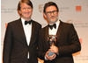 The Kings Speech director Tom Hooper with The Artist director Michel Hazanavicius, who accepted the BAFTA on behalf his cinematographer Guillaume Schiffman.