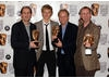 David Sproxton, citation reader Alex Pettyfer, Nick Park and Steve Box celebrate their Feature Film win for Wallace and Gromit The Curse of the Were-Rabbit