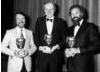 Visual effects expert Dennis Muren (centre) accepting his BAFTA in 1985.