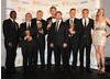 Romola Garai and Paterson Joseph present the Occupation team with their Drama Serial BAFTA (BAFTA/Richard Kendal).