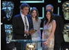 Skins writer Brian Elsley and stars Kaya Scodelano (Effy) and Hanna Murray (Cassie) thanked the show's legion of fans as they collected the publicly-voted Philips Audience Award (BAFTA / Marc Hoberman).