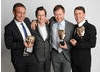 Presenter Lee Ingleby with Drama winners John Rice, Alan Shannon and Mark Cumberton.