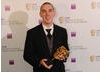 Robert Bowling celebrates his Gameplay Award for Call of Duty 4: Modern Warfare  (BAFTA / James Kennedy).