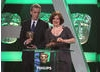 The Thick Of It actors Peter Capaldi and Rebecca Front present the award for Entertainment Programme.
