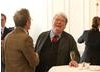 Actor John Hurt catching up with Alan Parker at Savoy, London.