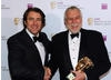 TV presenter and comedian Jonathan Ross presented the Fellowship to one of the founding fathers of the video games, Nolan Bushnell (BAFTA / James Kennedy).