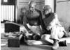 Producer/Director Richard Attenborough and actor Ben Kingsley on the set of Gandhi.