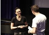 TV presenter Chris Jarvis talks to actor Katie McGrath about her character Morgana (BAFTA / Jonny Birch).