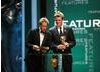 Olympic rowing champion James Cracknell and presenter and advernturer Ben Fogle present the Academy Award for Features. (BAFTA/Steve Butler)
