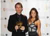 Rachel Stevens presents the BAFTA Kid's Vote Award to Jonathan Boseley for Disney's Hannah Montana.