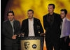 Jon Adams, Andrew Chater and Paul Trainor accept their BAFTA for the expertly-produced Timelines.tv: Smallpox Through Time. Pic: BAFTA/Steve Finn