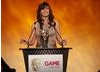 Gadget Show presenter Suzi Perry announces the winner of the best Handheld game (BAFTA/Brian Ritchie)