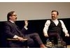 Ricky Gervais and moderator John Hodgman at the Q&amp;A for 