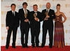 Presenters Toby Stephens and Miranda Raison with winners Tim Kirkey, Stewart Lee and Richard Webb.
