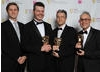 Actor Aaron Staton with winners Kevin McDowell, Scott Pitkethly and Alan Blair. The jury praise the games integration of turn-based and real-time mechanics.
