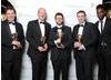 Sound: Fiction winners John Mooney, Jeremy Child, Howard Bargroff and Doug Sinclair show off their Awards for Sherlock (A Scandal in Belgravia) alongside Misfits star Nathan Stewart-Jarrett.