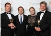 The camera team for Frozen Planet (To The Ends of the Earth)  pick up the BAFTA for Photography: Factual. They show off their Awards alongside Award presenters Joe Thomas and Kimberly Nixon.