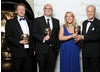 The team behind The Cube celebrate their BAFTA win with radio and television presenter Nicholas Parsons.