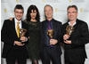 Presenter Ronni Ancona with Peppa Pig creators Phil Davies, Neville Astley and Mark Baker.