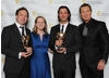 Presenter Martin Kemp with the Trapped winners, including Rob Hyde and James Morgan.