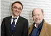 Danny Boyle poses with his cinematic hero Nicolas Roeg at BAFTA Headquarters after presenting him with the Academy's Special Award.