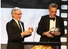 Steven Spielberg presenting Daniel Day-Lewis with the Stanley Kubrick Britannia Award for Excellence in Film.