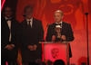 Will Edwards, Doug Allan and Matt Norman accept the award for Photography: Factual for their work on Human Planet (Arctic). (Pic: BAFTA/Jamie Simonds)