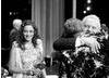 Fellowship recipient Anthony Hopkins and Actress winner Marion Cotillard congratulate Tilda Swinton on her Supporting Actress BAFTA (pic: Greg Williams / Art + Commerce).