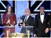 Honourees Kathryn Bigelow, Ben Kingsley and George Clooney on the Britannia Awards stage