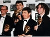 Geoffrey Perkins celebrates at the Television Awards in 1996 with the Father Ted team. 