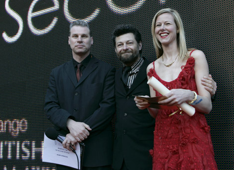 Mark Kermode and Andy Serkis congratulate the winner of 60 Seconds of Fame.