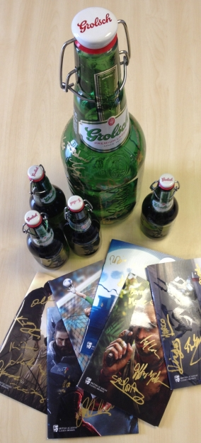 Signed Grolsch bottle & Games Awards brochures