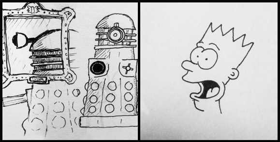 Dalek and Bart Simpson: drawing examples