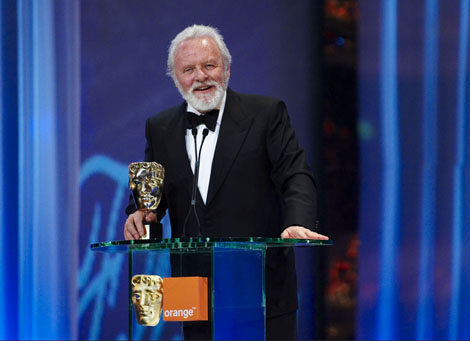 Anthony Hopkins accepts the Academy Fellowship at the Orange British Academy Film Awards in 2008.