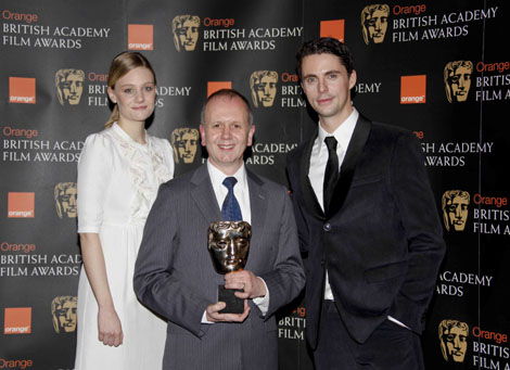 Academy Chairman David Parfitt with Romola Garai and Matthew Goode at the Film Awards Nominations Press Conference.