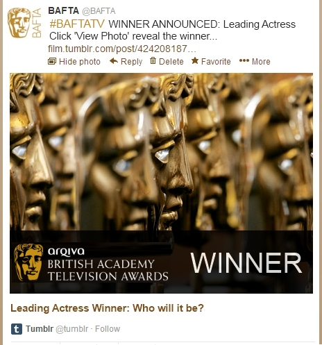 Television Awards Winners Tweet Example - Open