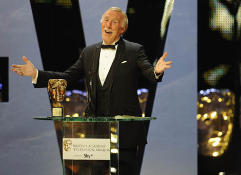 Bruce Forsyth collecting his Academy Fellowship at the British Academy Television Awards.