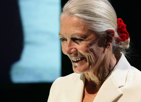 Vanessa Redgrave pays tribute to Douglas Slocombe on stage at BAFTA Headquarters in 2010.