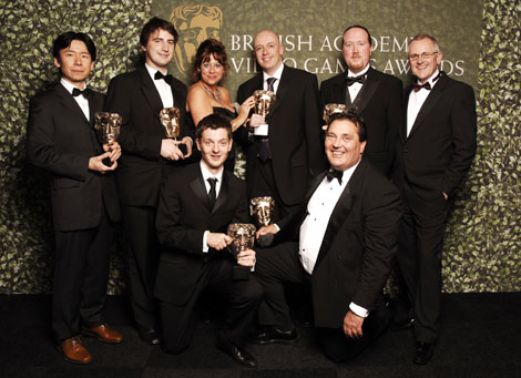 Nintendo's winning team with their six BAFTAs for Wii Sports