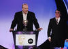 Jamie Rix &amp; Nick Wood accepting the Drama Award 2008 for 'The Revenge Flies of Alistair Fury'.