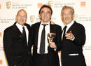 Danny Boyle with Sir Ian McKellen and Patrick Stewart at the Orange British Academy Film Awards in 2009